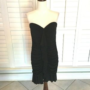 BCBG Max Azria Ruched Ruffle Cocktail Dress L